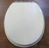 Soft Cream Wood Toilet Seat Chrome Hinge - 02012617